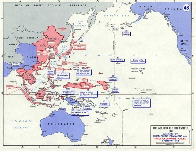 Summary of Allied Pacific Campaigns and Status of Japanese Forces, February 1, 1945