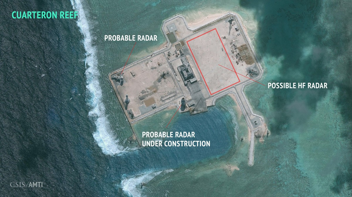 China's artificial island on Cuarteron Reef, as of January 24, 2016.