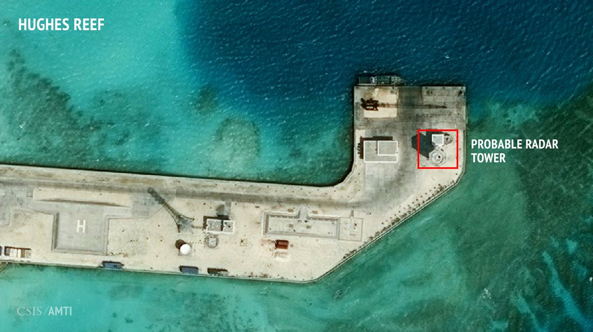 The eastern section of China's outpost on Hughes Reef, as of February 7, 2016.