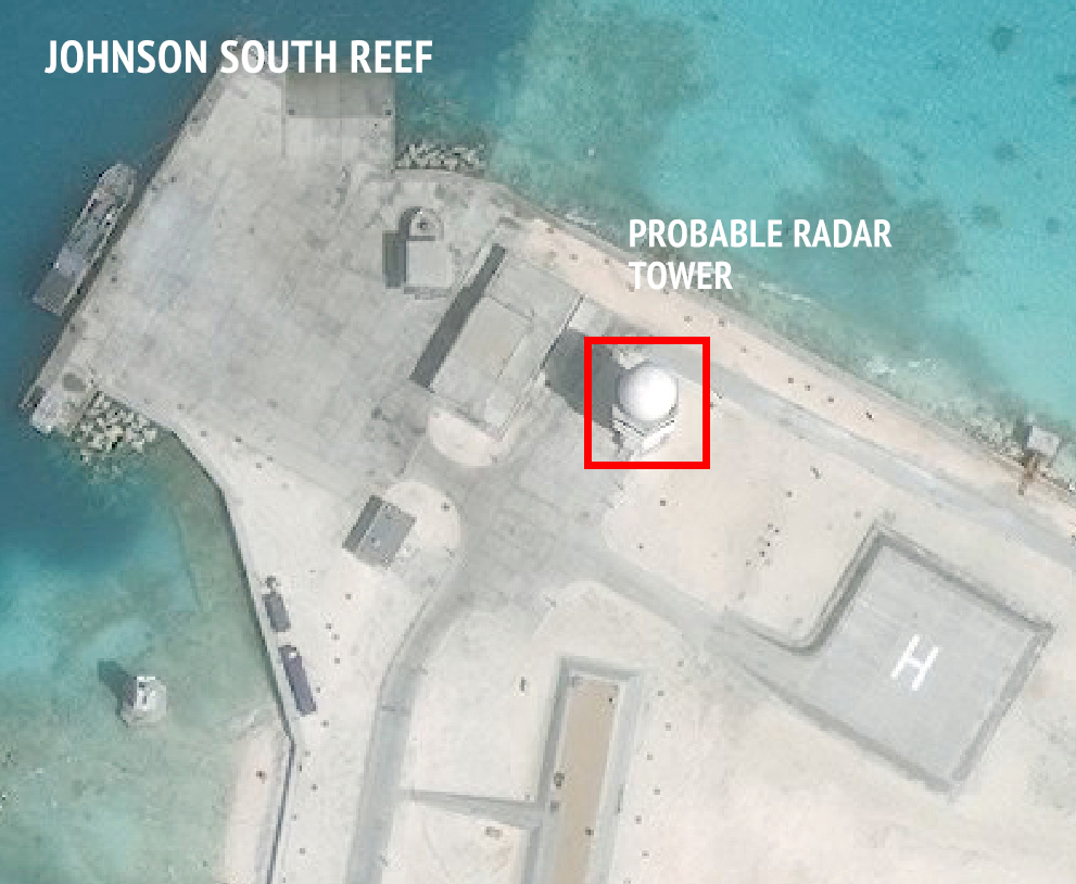 The northern portion of China's outpost on Johnson South Reef, as of February 9, 2016.