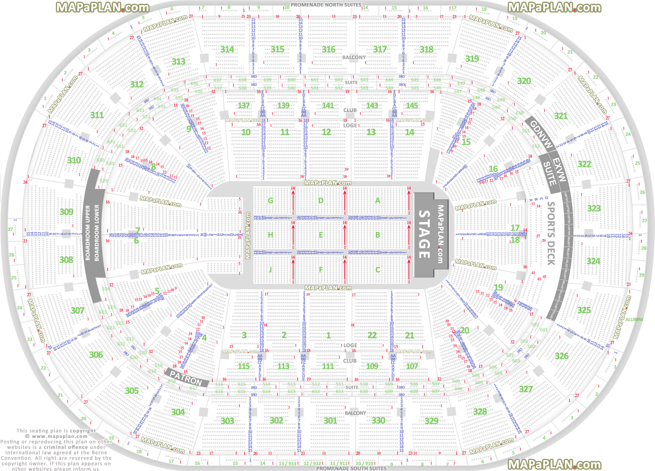Madison Square Garden Seating Chart Row Numbers
