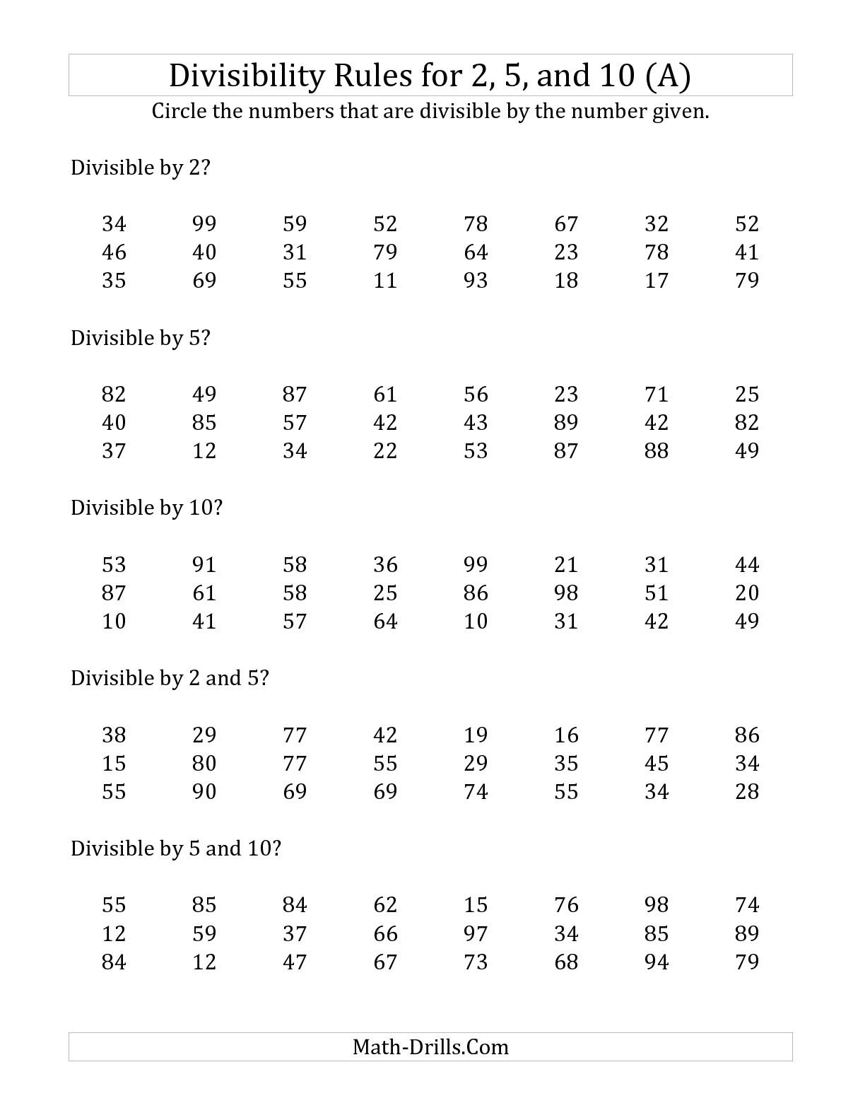 Divisibility Rules Worksheet