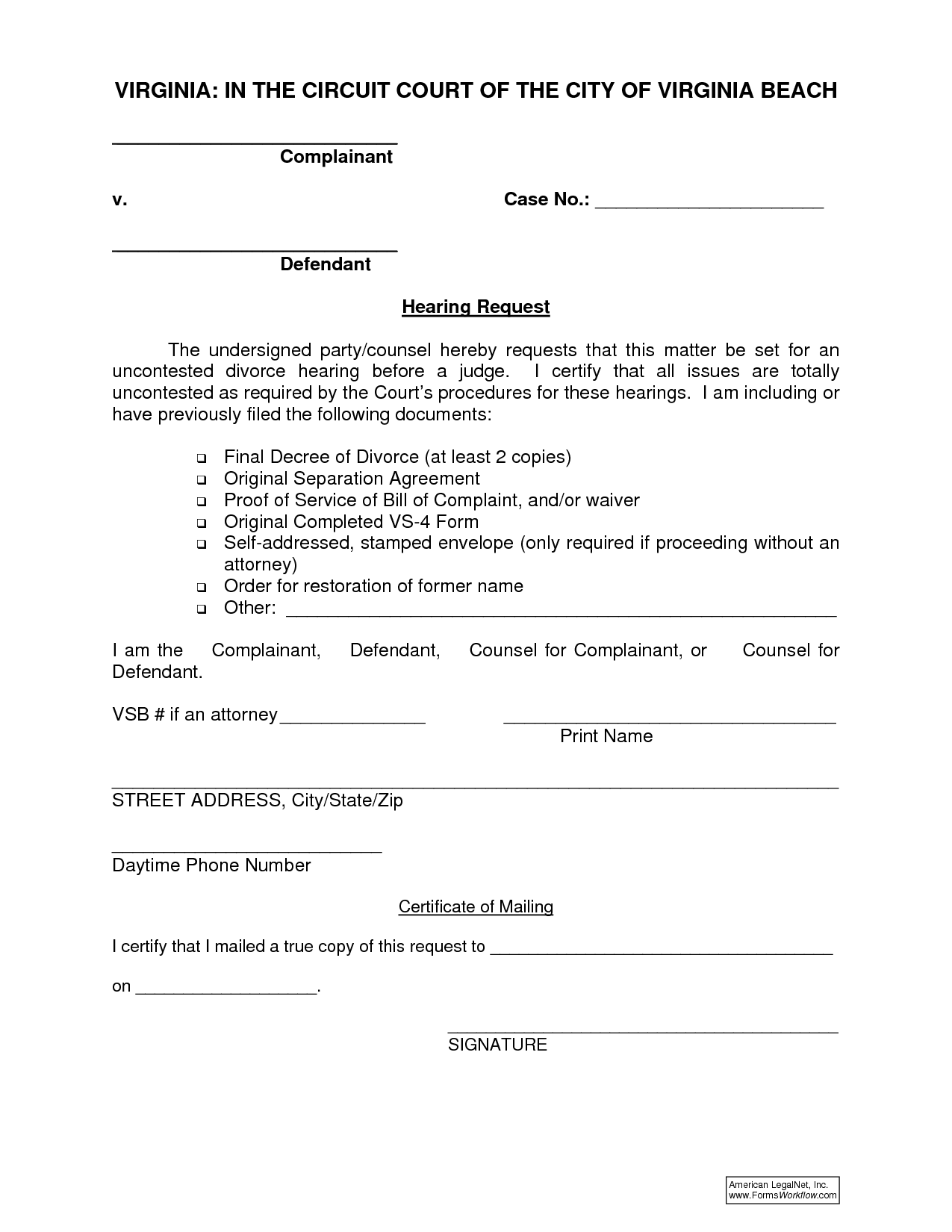 Free Virginia Divorce Forms Online