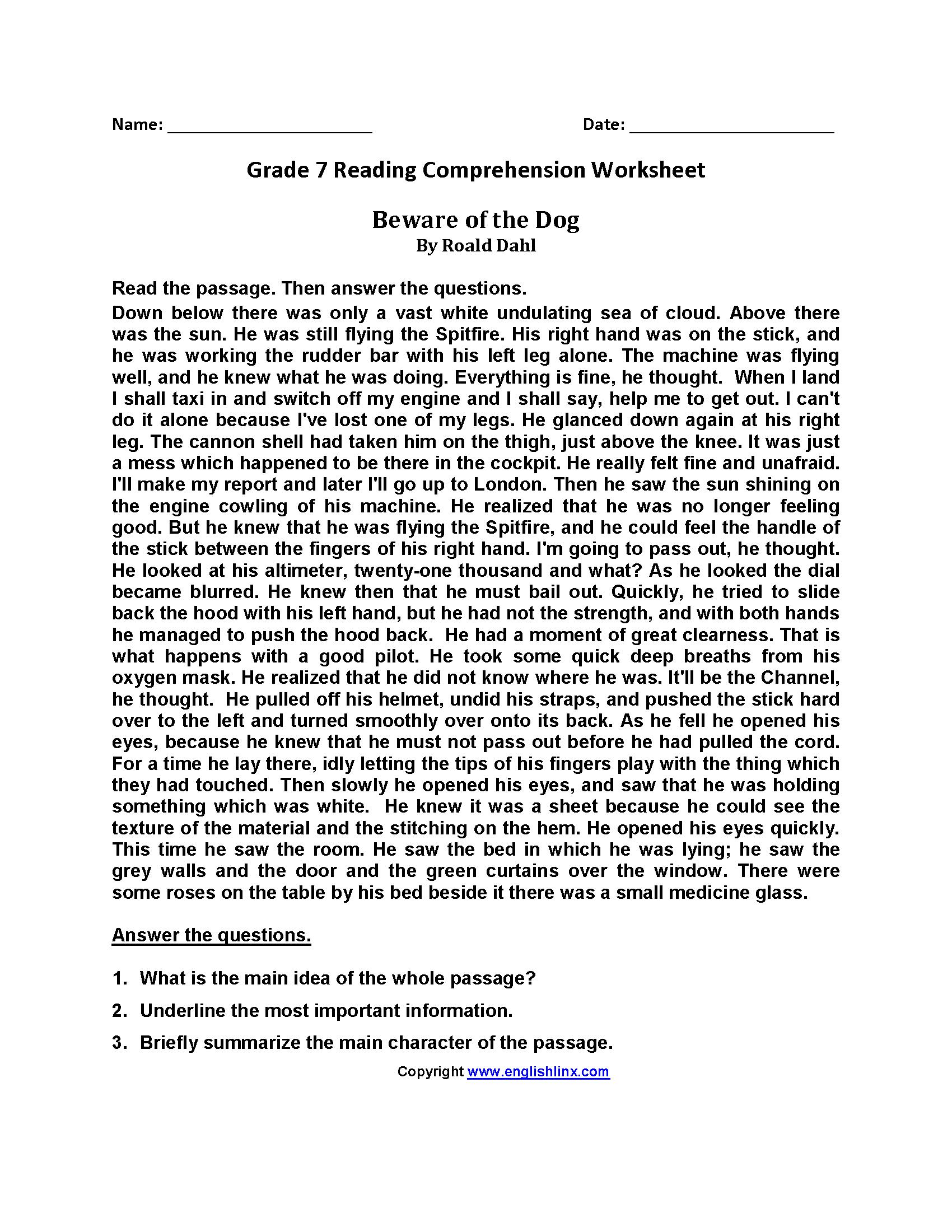 Grade 7 Reading Comprehension Worksheets