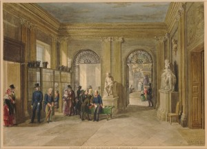 Entrance to the old British Museum, Montagu House George Scharf, 1845  Londres, British Museum