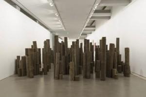 Uma floresta para os teus sonhos Alberto Carneiro, 1970 Instalação: Troncos de madeira de pinho tratados. Foto: FCG/CAM