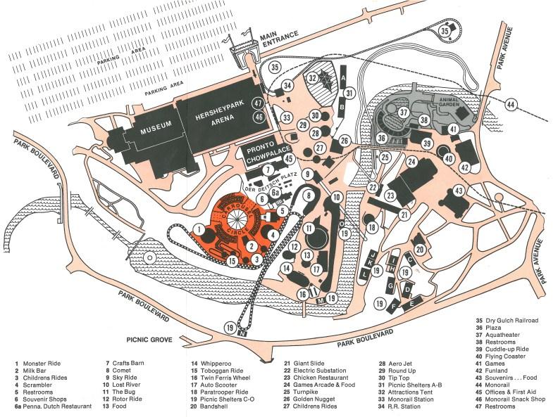 1972 Hersheypark map
