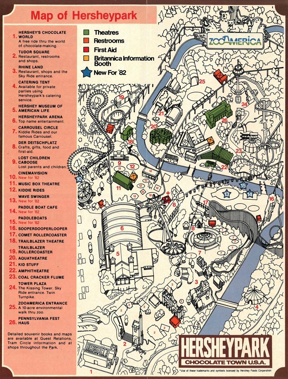 1982 Hersheypark map