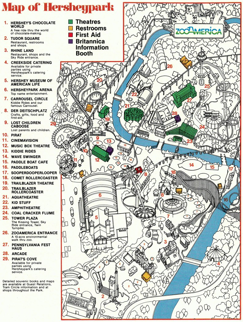 1983 Hersheypark map