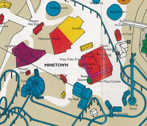 Minetown on a 1990 map of Hersheypark.