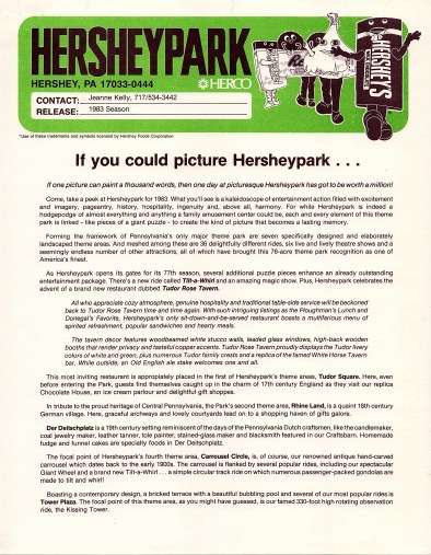 """1983 Press Release: """"If you could picture Hersheypark..."""" features information about the new restaurant, Tudor Rose Tavern, and the seven theme areas in Hersheypark. (Page 1)"""
