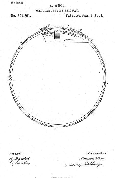 US 291261 - Circular Gravity Railway [Wood, Alanson]