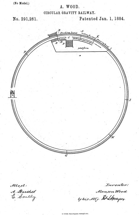 US 291261 - Circular Gravity Railway [Wood, Alanson]