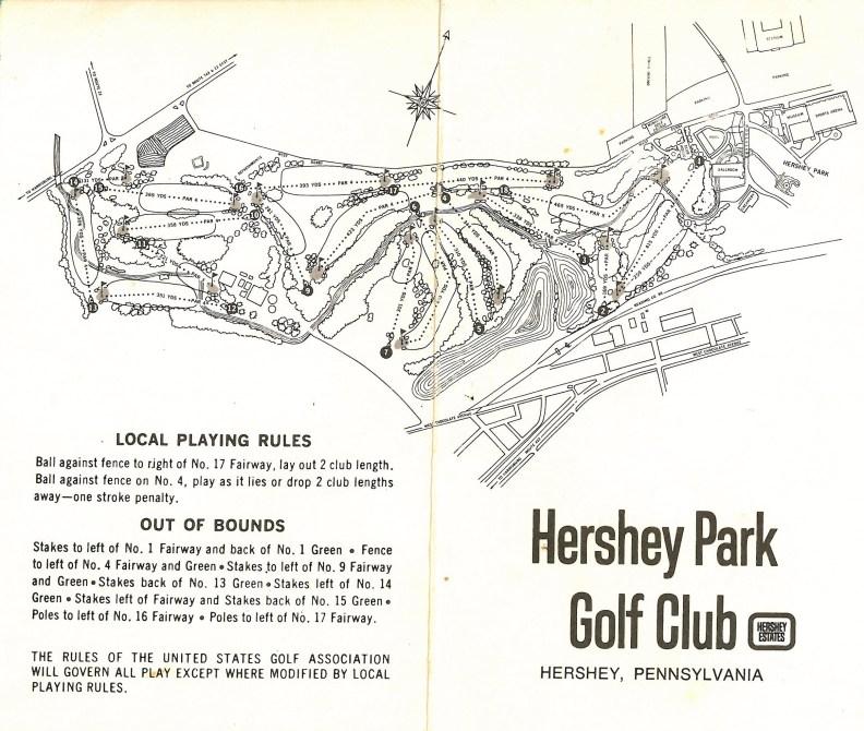 1970 circa Hershey Park Golf Club map