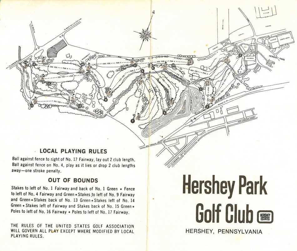 1970 circa Hershey Park Golf Club map