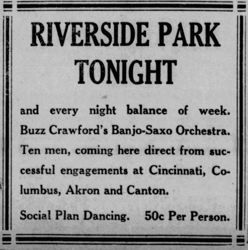 Riverside Park advert for Buzz Crawford's Banjo-Saxo Orchestra