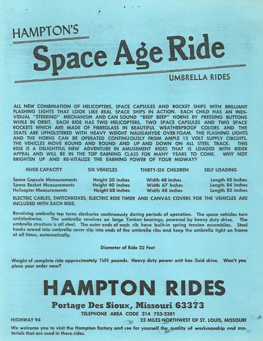Hampton Rides advert sheet for the Space Age Ride.
