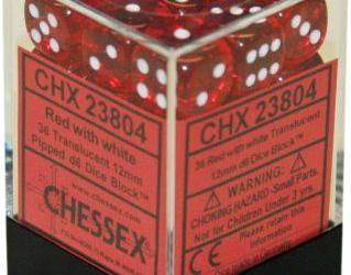 Chessex 36D6 Translucent Red / White 12mm CHX23804