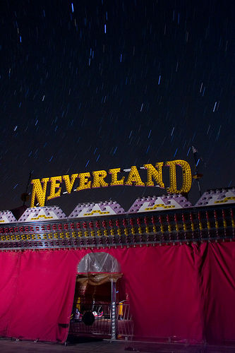 Bumper car tent at Neverland Ranch. Butler Amusements bought 5 rides from Neverland, but only this one is for sale