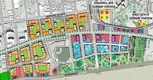 Detail of CIDC Map of of Coney Island Redevelopment Plan.  Salmon and cream color denote residential and residential towers north and west of MCU Park