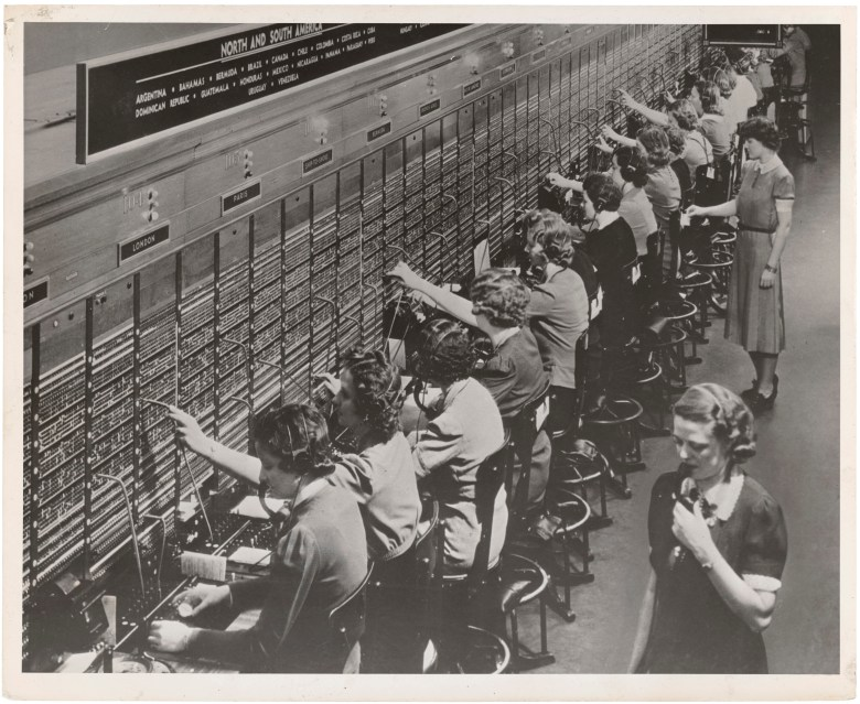 A Bell System switchboard where overseas calls are handled. Not all of the services shown are available during wartime conditions. December 22,1943 88-WWT-28-3 11900_2005_001