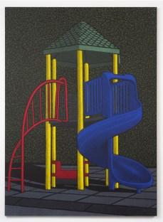 "Location (Playground no.2) 2014, oil pastel on canvas 132"" x 96"""