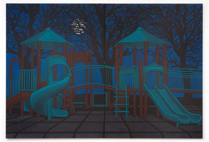 "Location (Playground no.4) 2014, oil pastel on canvas 132"" x 192"""