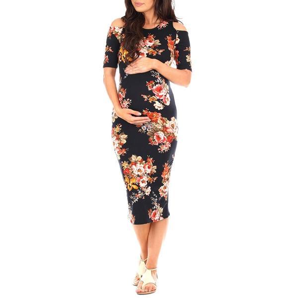 Elegant cold shoulder fitted maternity dress