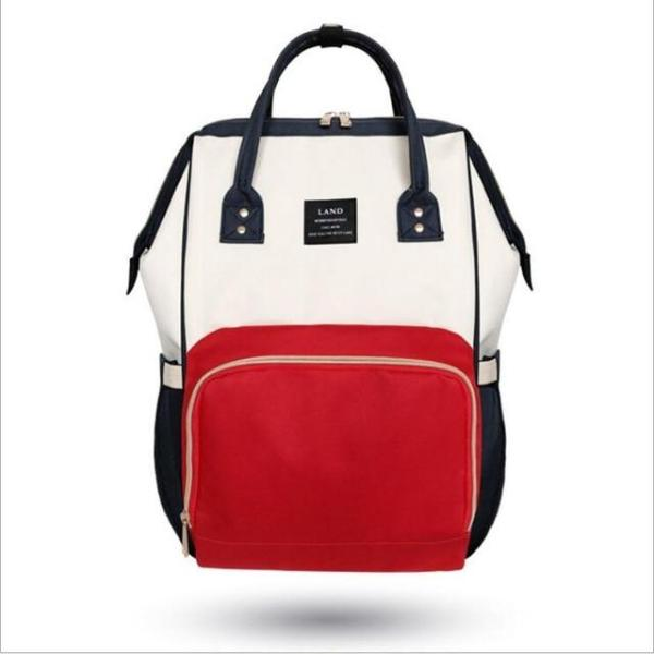 Land Diaper Backpack Bag - White and Red - AmyandRose