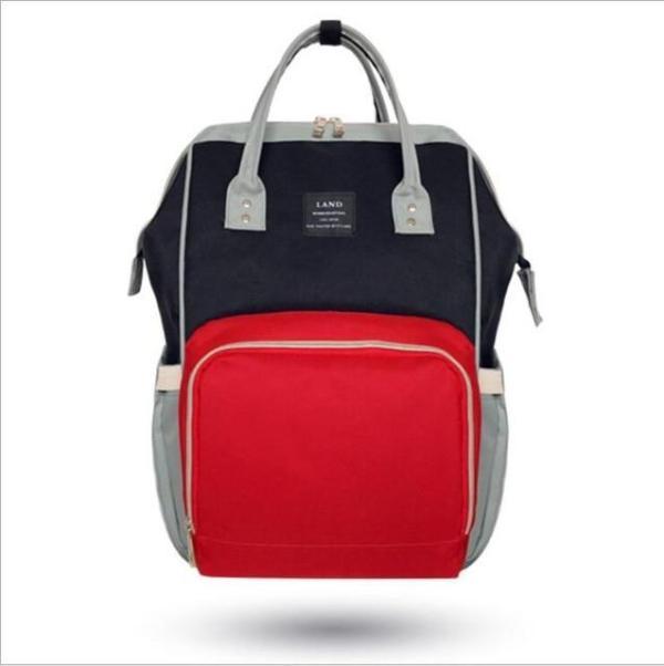 Land Diaper Backpack Bag - Black and Red - AmyandRose
