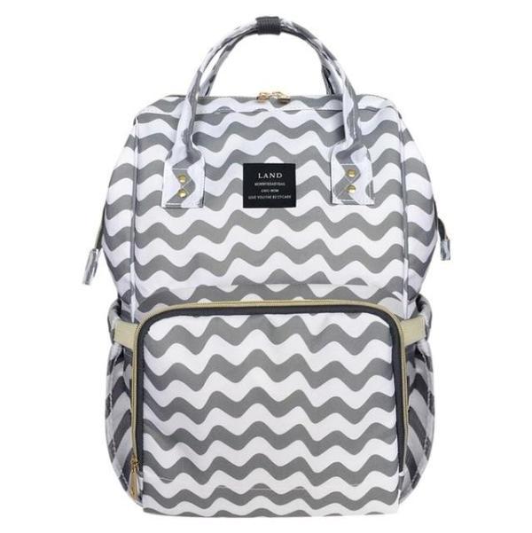 Land Diaper Backpack Bag - Grey White Waves - AmyandRose