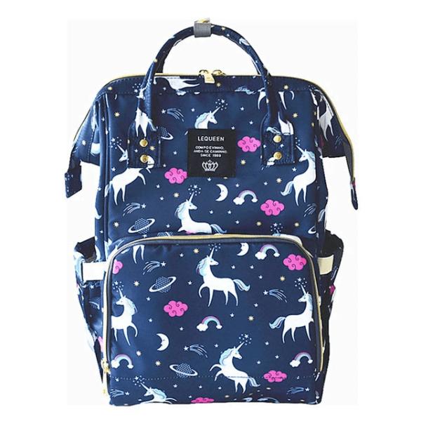 Lequeen Diaper Bag Backpack Blue Unicorn
