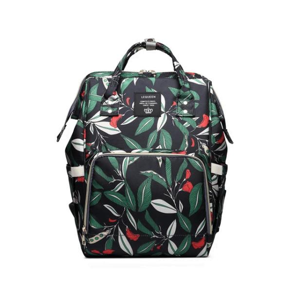 Lequeen Diaper Bag Backpack Black Flower