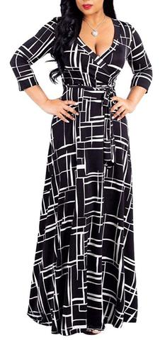 V neck prints long preggo gown
