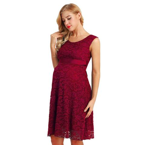 Wine red Lace pregnancy dress