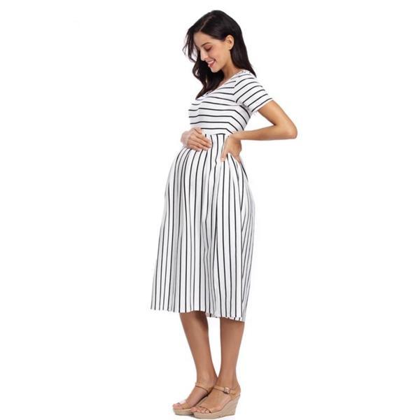strip maternity dress