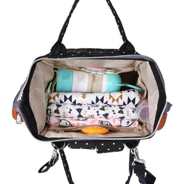 Polka Dot Waterproof Diaper Backpack Bag Open