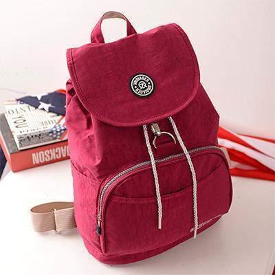 Preppy Style Women's Waterproof Backpack Rose Red