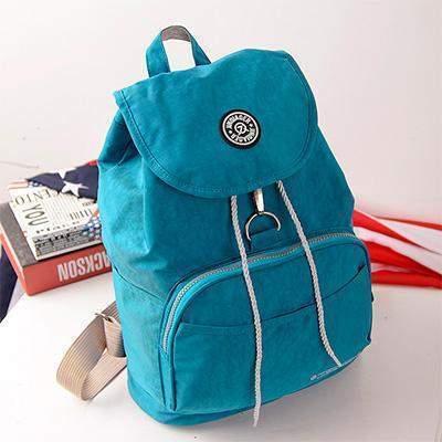 Preppy Style Women's Waterproof Backpack Sea Blue