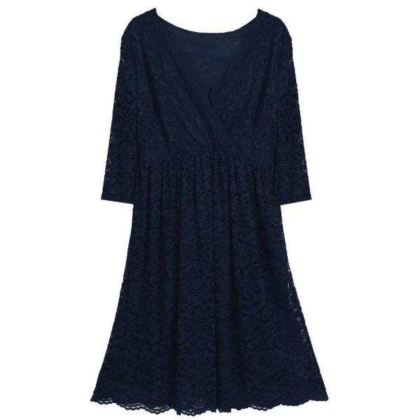 Floral Cocktail Party Maternity Dress Navy