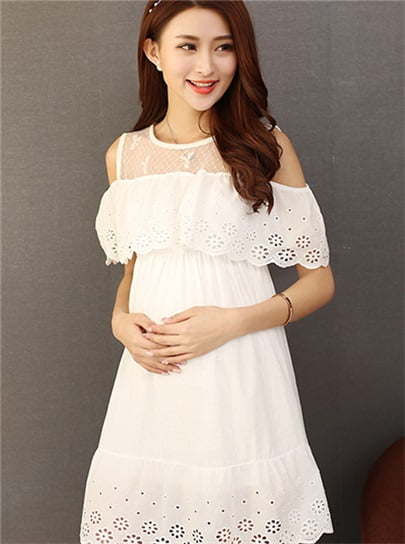 White Off Shoulder Maternity Dresses