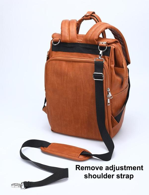 Leather Diaper Backpack Adjustable Strap