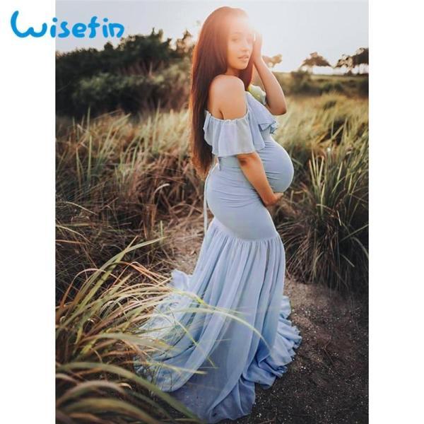Long Maternity dress for baby shower light blue