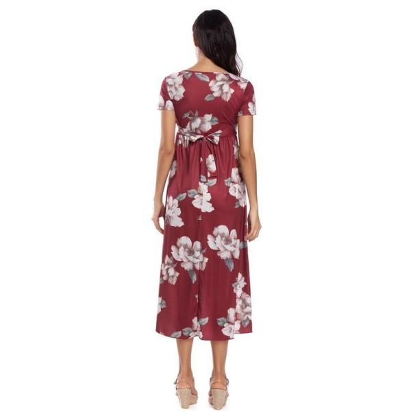 Floral Fitted Maternity Dress Maroon Back