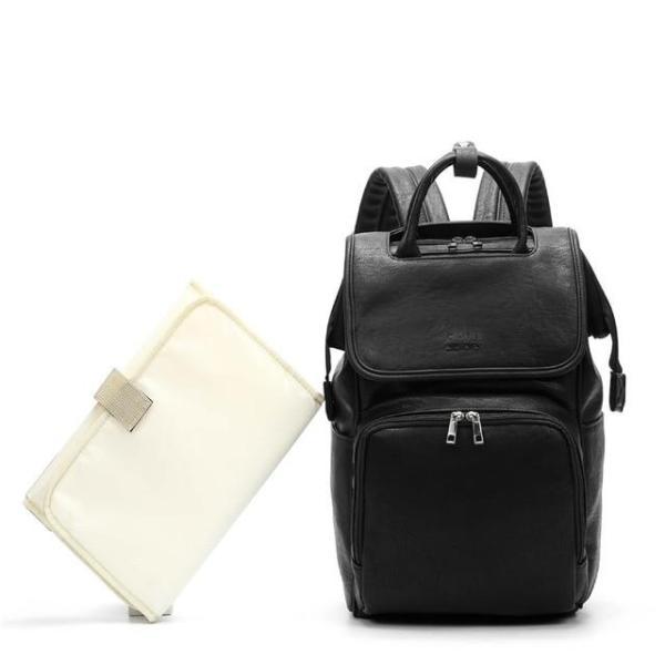 Leather Diaper Bag Black