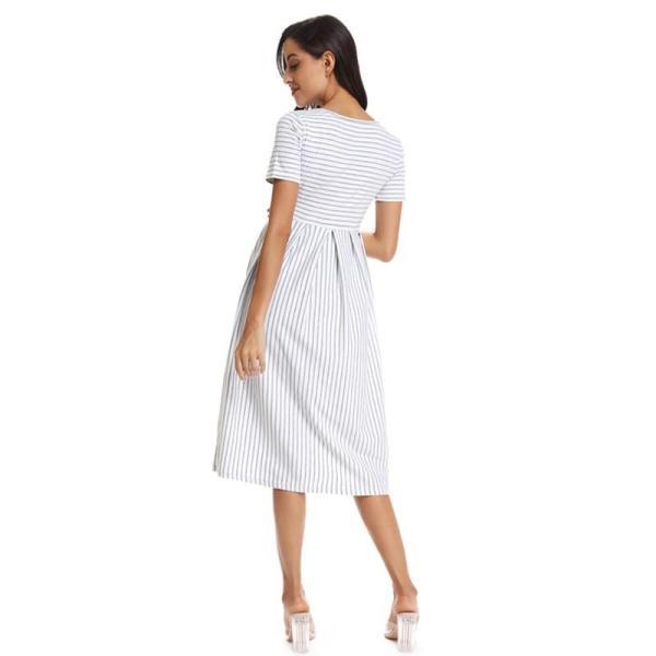 Striped Maternity Dress White Back