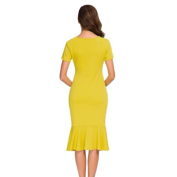 Bodycon Maternity Dress Mustard Back