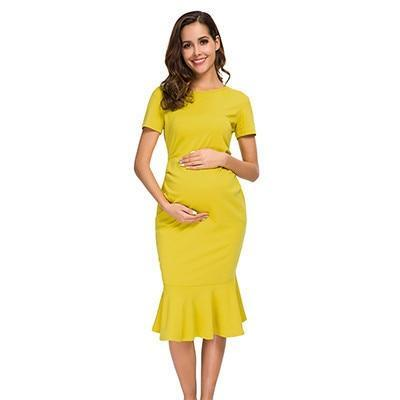 Bodycon Maternity Dress Mustard Front