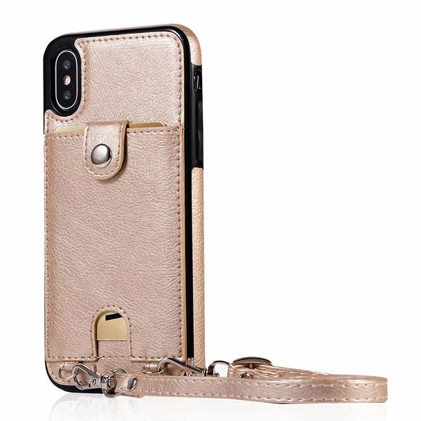 Iconic iPhone Purse Case with Shoulder Strap Gold
