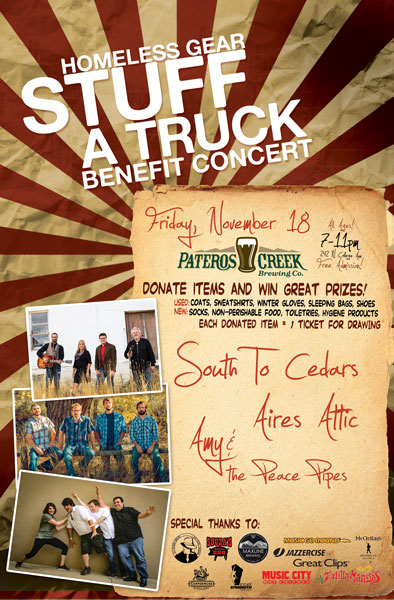 Stuff A Truck Concert for Homeless Gear w/ South to Cedars and Aires Attic at Pateros Creek Brewing Company